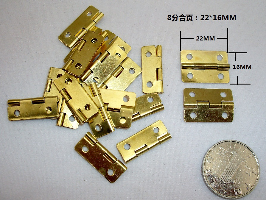 1000Pcs Mini Cabinet Drawer Butt Hinge copper gold small hinge 4 small hole 22*16mm copper hinge With screws<br><br>Aliexpress
