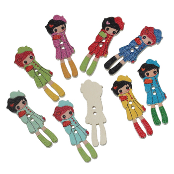 "Wood Sewing Button Scrapbooking Girl At Random Two Holes 3.5cm(1 3/8"")x 12mm(4/8""),9 PCs 2015 new"