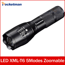flashlight cree xm-l t6 Zoomable 5 Modes waterproof black 3800lm lampe torche led torchlanterna 18650 zk50 - POCKETMAN kaijun Store store