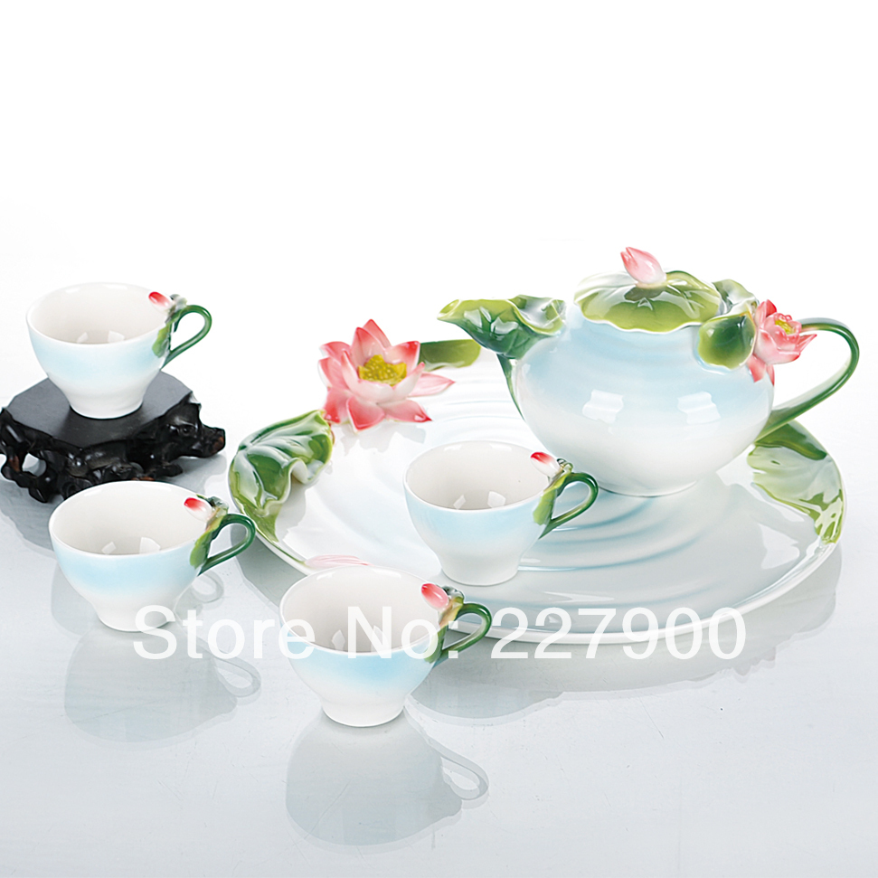 Enamel Porcelain Fashion Creative Hand Painted Green And Red Lotus Flowers Tea Set Tea Service Coffee