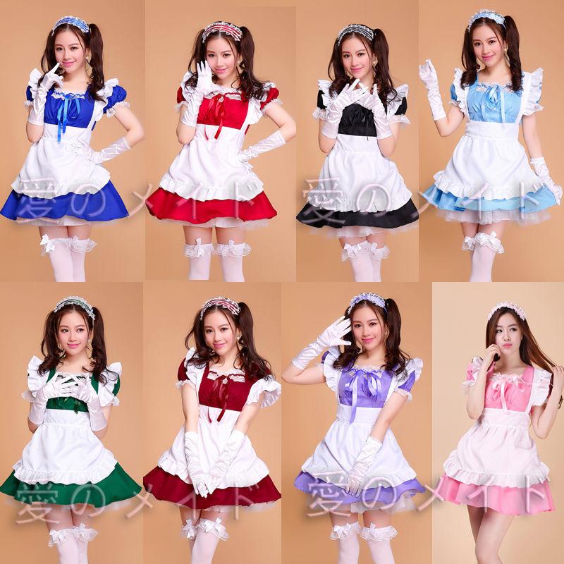 free shipping Lolita Princess Apron Dress Maid Outfits Meidofuku Uniform Cosplay Costume S-XXL 8 color(China (Mainland))