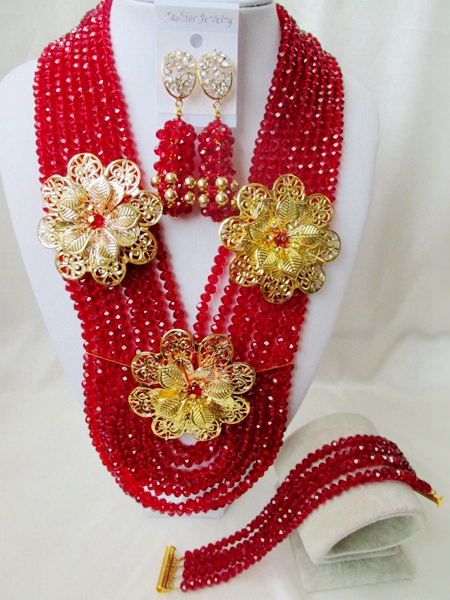 luxury nigerian wedding red african beads jewelry set crystal beads bride jewelry set GG-900<br><br>Aliexpress