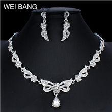 WEIBANG Klassische Blume Kristall Schmuck Set Braut Silber Halskette Halskette Ohrringe Set Weibliche Hochzeit Schmuck dropshipping(China)