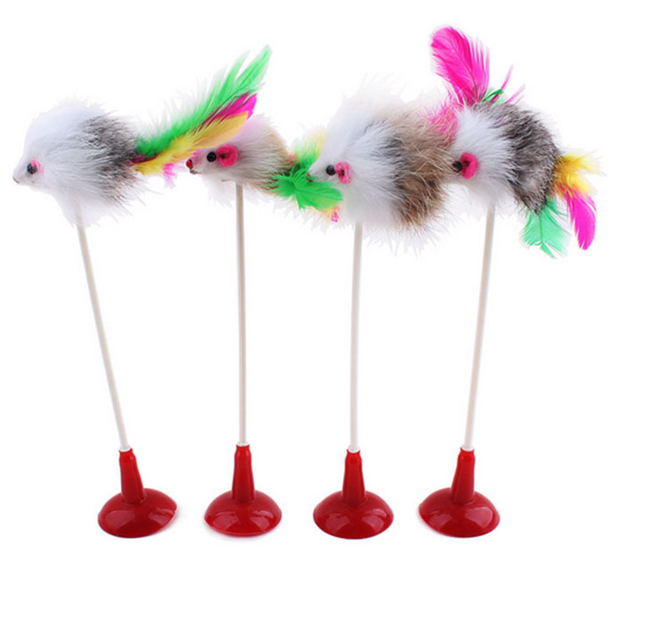 1pcs Funny Pet Cat Toys Feather False Mouse Bottom Sucker Cat Kitten Playing Toys for Cats B30()