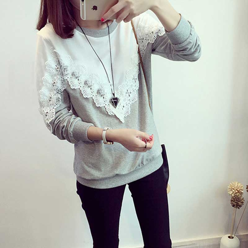 New 2016 T Shirt Women Fashion Brand Long Sleeve Sexy Lace Crochet T-Shirt Embroidery Slim Casual Tops Plus Size DP861179(China (Mainland))