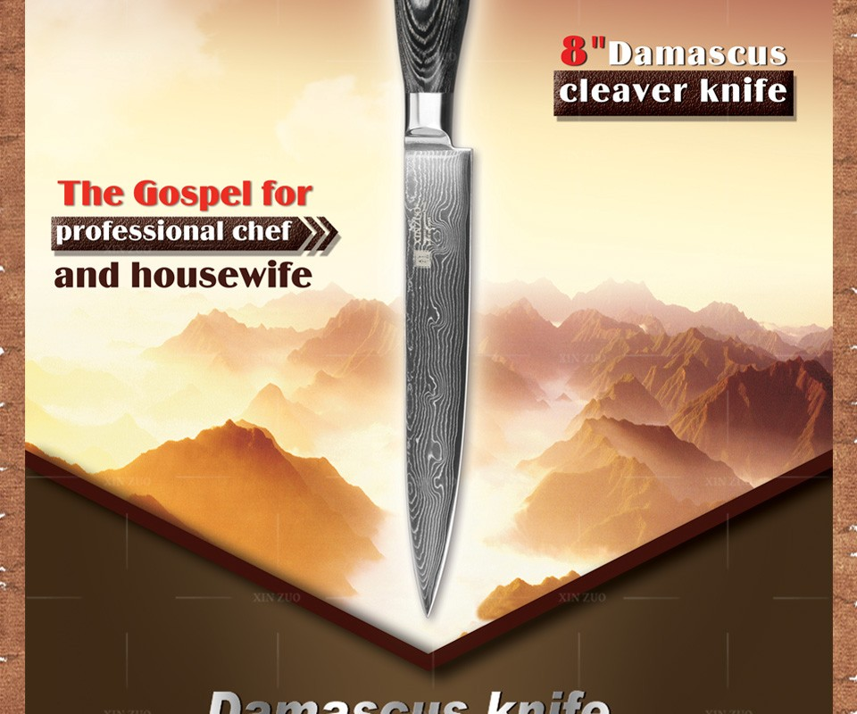 """Buy 8"""" inch XINZUO cleaver knife 73 layers Damascus steel kitchen knife VG10 meat Sashimi knife with Color wood handle free shipping cheap"""