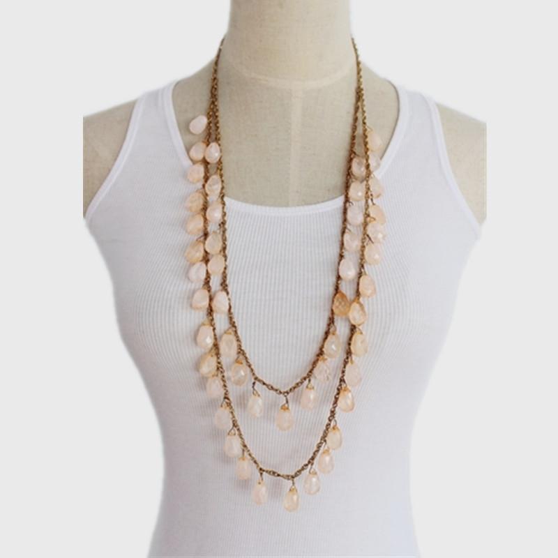 Fashion Women Bohemian Semi-precious Stone Water Drop Shaped Beads Chain Necklace and Pendants Beautiful Summer Long Necklace(China (Mainland))