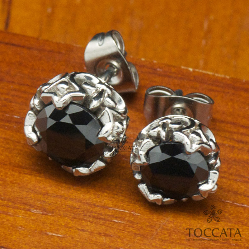 Big black and white zircon lovers stud earring for Unisex stainless steel coddy fashion personality(China (Mainland))