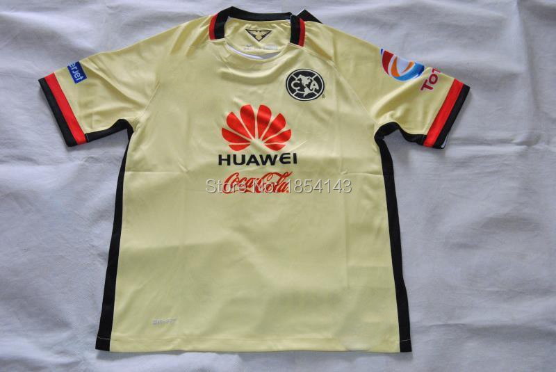 15 to 16 top Thailand version of Mexico's club America team soccer uniform yellow short-sleeved shirt can customize printing(China (Mainland))