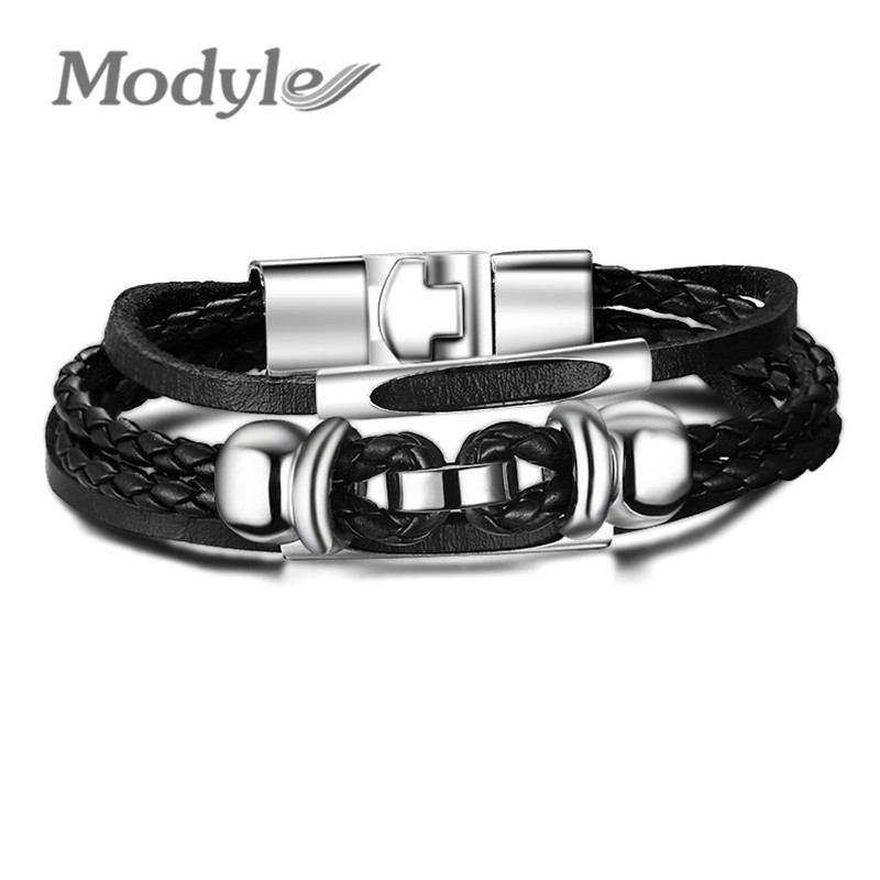 European Style Men Bracelets & Bangles Stainless Steel Bracelet Leather Bangle for Men Jewelry Hot Sale(China (Mainland))