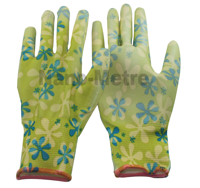 NMSafety 6 pairs high quality flower print polyeaster liner coated PU gloves,assembly work in gardening industries<br><br>Aliexpress