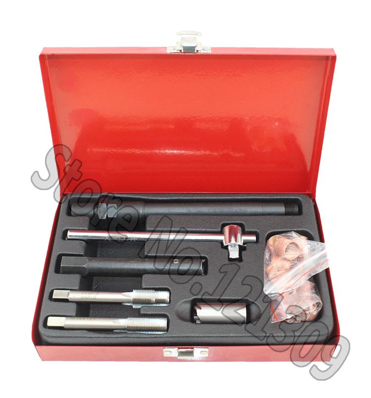 Hand Tool Set 25 PC Spark Plug Thread Repair Tools Kit M14 x 1.25 with Metal Case<br><br>Aliexpress