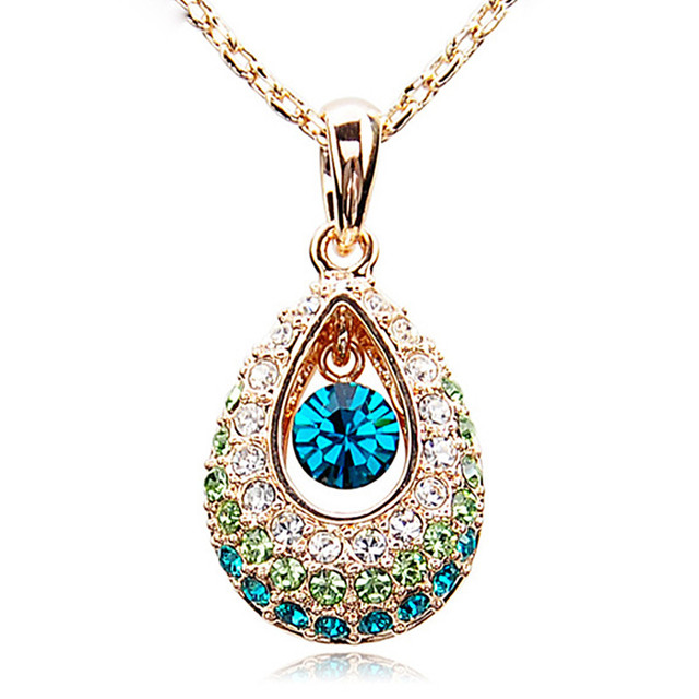 XS0087 Fashion 2016 Angel tears Necklace Drop Pendant Jewelry Colorful Crystal Popular necklaces for women