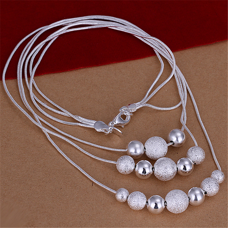 Fine Jewelry Silver Necklaces & Pendants 18inch Snake Chains Long Necklace Women NS009(China (Mainland))