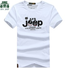 AFS JEEP Original Men's Fashion Big Size Tees,White Black Gray Army Green Short Sleeve t-shirt,Embroidery Letter Cotton T shirt