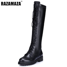 Buy New Fashion Women Real Genuine Leather Knee Boots Woman Flat Martin Boot Female Round Toe Lace Shoes Size 33-40 for $54.54 in AliExpress store