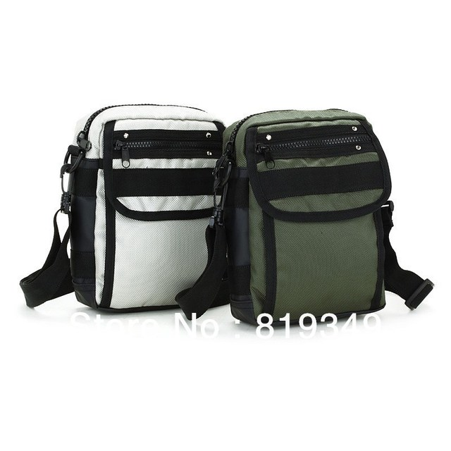 2013 NEW Arrival VANCL Men Ricker Multi-Pocket Vertical Bag Durable Quality Adjustable Strap Gray/Army Green Free Shipping