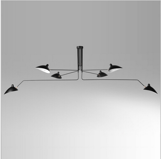 Serge Mouille Pole 3/6 heads Ceiling Lights Iron lampshade Decor Kitchen Ceiling Lamps Fixture lamparas de techo 110-240V 1739(China (Mainland))