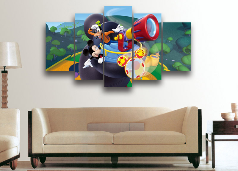 5 Pieces Donald Duck Mickey Mouse Cartoon Animal Modern Home Wall Decor Canvas Picture Art HD Print Painting On Canvas Artworks(China (Mainland))