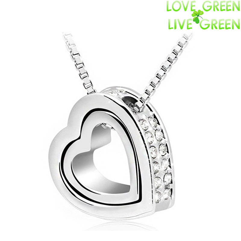 Promotion discount 18K Gold Plated Austrian Crystal rhinestones float floating double Heart Pendant Necklace jewelry 117