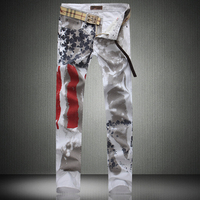 Male straight jeans slim colored drawing flag casual plus size denim trousers flower pants
