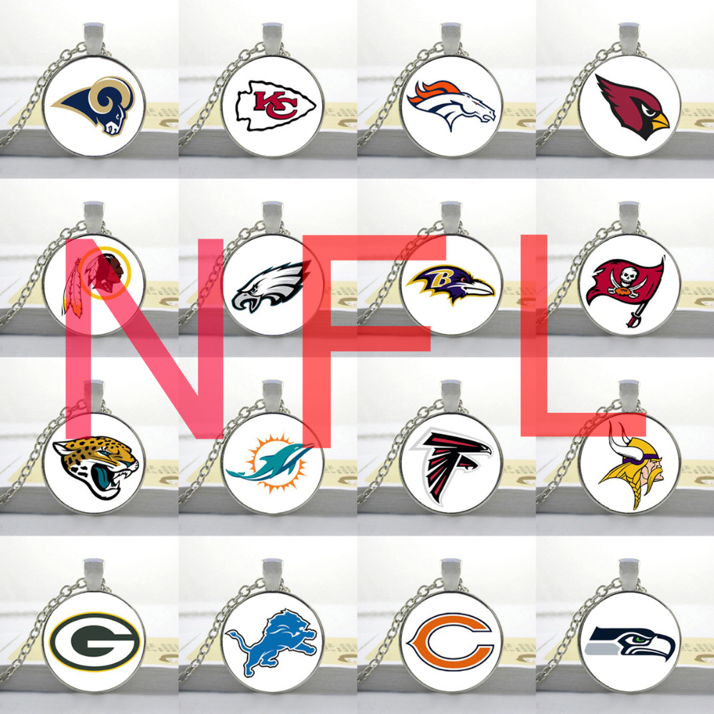 Wholesale Drop shipping NFL team logo pendant Washington Redskins Kansas City Chiefs green bay packers Detroit Lions necklace(China (Mainland))