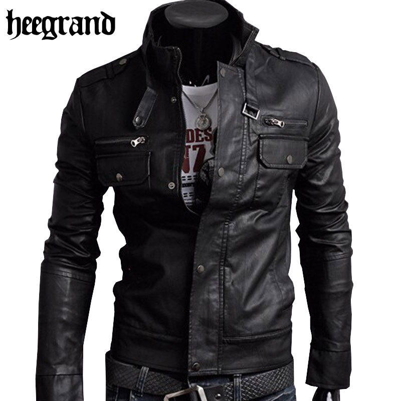 HEE GRAND 2017 Classic Style Motorcycling PU Leather Jackets Men Slim Male Motor Jacket Men's Clothes MWP148(China (Mainland))