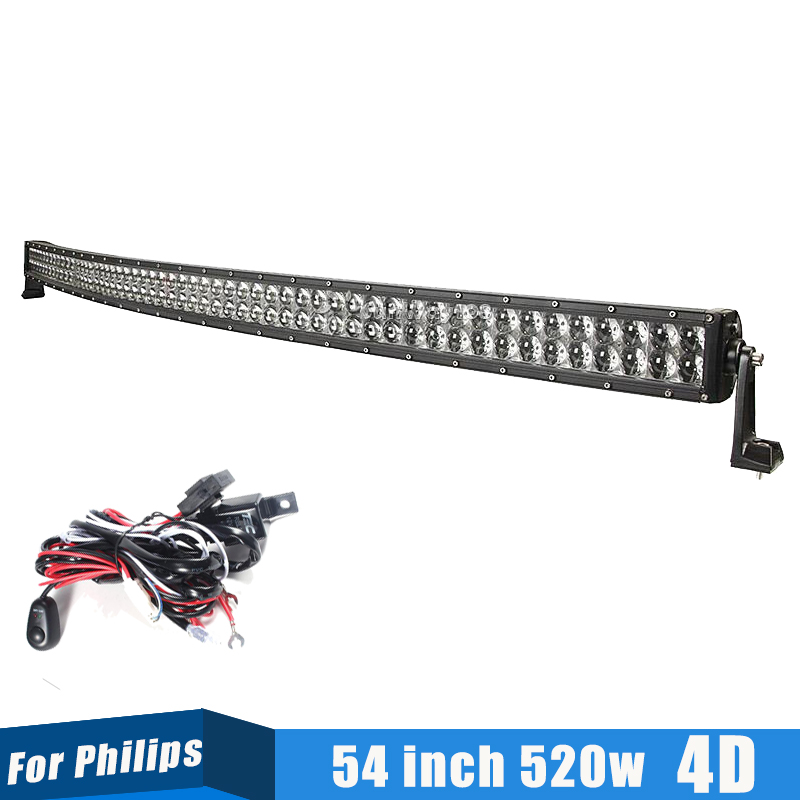 4D 54 inch 520W Offroad Curved LED Light Bar For Philips Fit SUV 4x4 Pickup Truck Car Roof Spot Flood Combo Beam(China (Mainland))