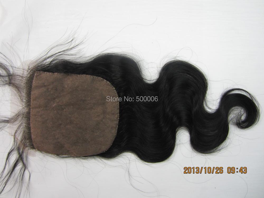 Queen Hair Peruvian Hair Bodywave Silk Base Closure 4x4Human Hair Silk Base Top Closure Free Part Natural Color Free Shipping<br><br>Aliexpress