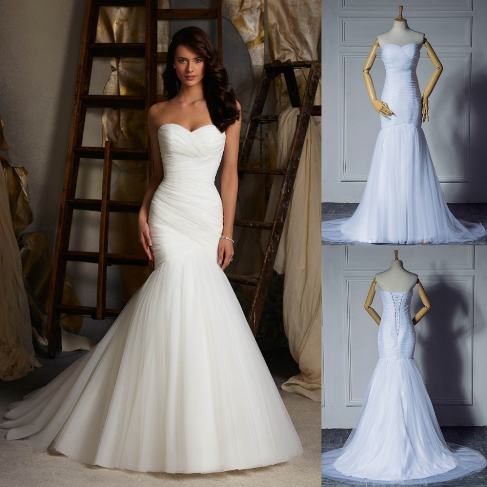 2015 new design ruched strapless mermaid tulle wedding for Tulle halter wedding dress