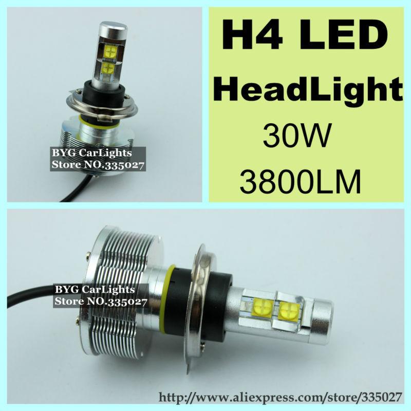All in one!Car CREE H4 LED Headlight/Headlamps/Bulbs 30W 2800LM for KIA RIO TOYOTA Chevrolet VolkSwagen Ford Fiesta Mazda Skoda(China (Mainland))