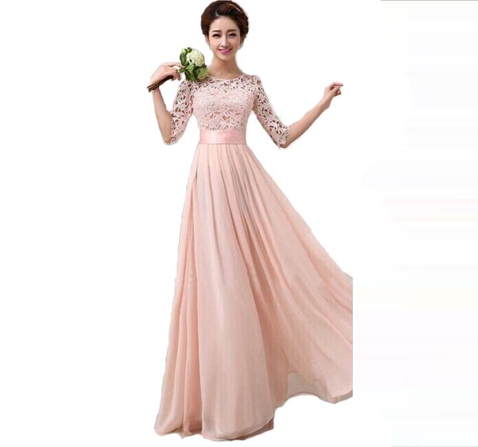 New 2015 Fashion Women Winter chiffon Party Dresses Sexy half sleeve white lace Maxi Long Dress wedding bridesmaid dress Gowns(China (Mainland))