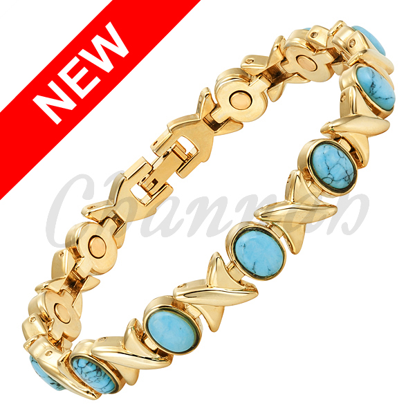 2016 Women Bio Jewellery Gift Semi-Precious Stones 18K Gold Plating Bracelet Magnetic Ladies Bangle Free Shipping Hong Kong Post(China (Mainland))
