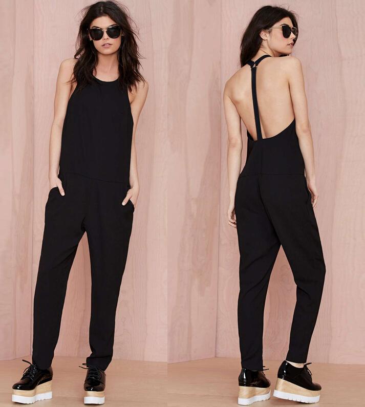 2015 Fashion Spring Summer women's cool black Full Length ...
