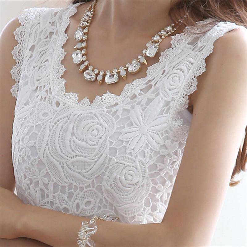 2016 Plus Size XXL Summer Women Blouse Lace Vintage Sleeveless White Black Crochet Casual Shirts Tops 01#(China (Mainland))