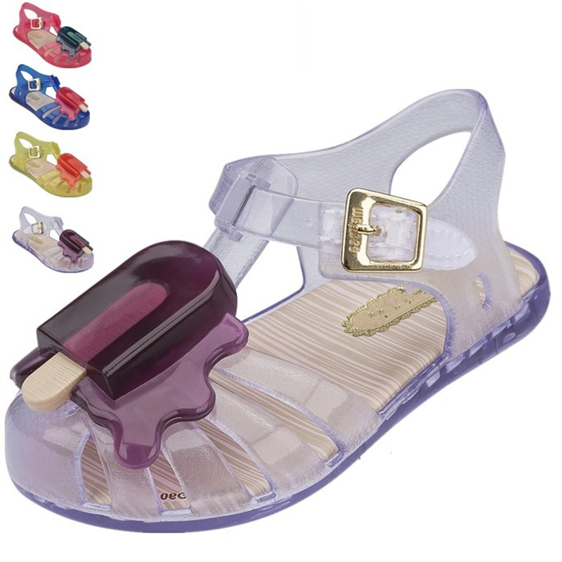 2016 toddler mini melissa baby girls/boys cute popsicle crystal shoe sandals beach sandals kids jelly flat shoes children shoes(China (Mainland))