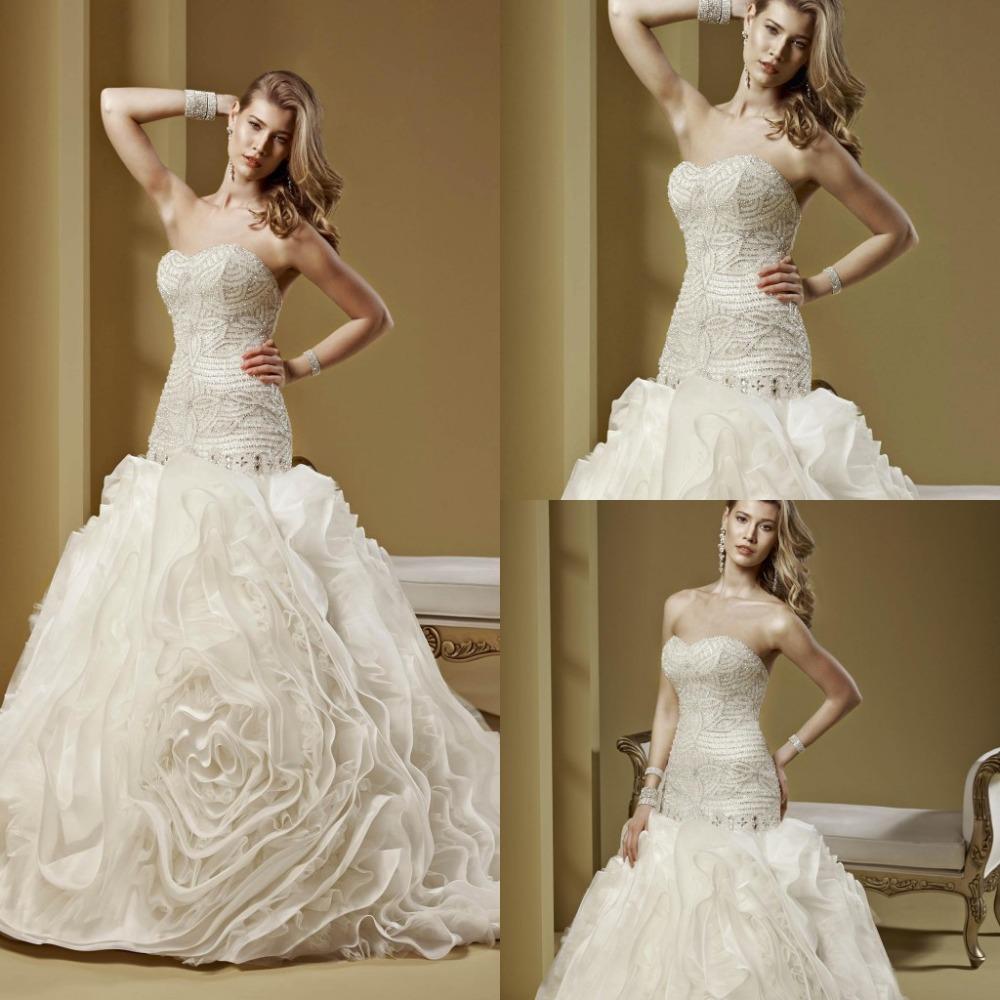 2015 New Arrival Luxury Wedding Dress Crystal Beading