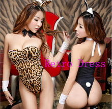 Buy 3 colors sexy bunny costumes women role-playing Rabbit girl sexy uniform 2016 new sexy Leopard erotic lingerie leopard print