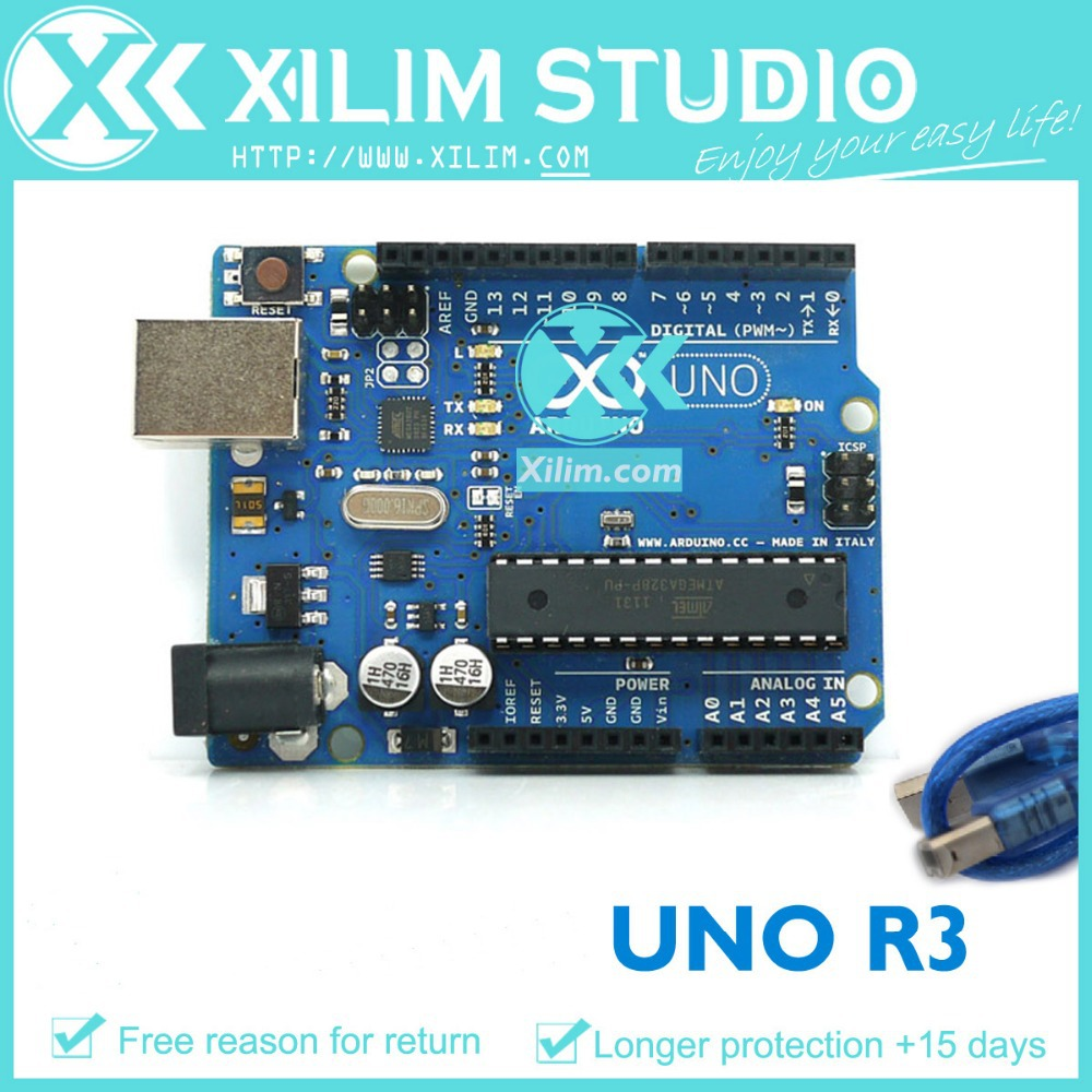 Гаджет  Free shipping! UNO R3 AVR MicroController Board base on DIP ATmega328 with USB Cable For Arduino UNO Rev3, High Quality!  None Электронные компоненты и материалы