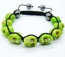 Free Shipping DIY Fashion Skull Bracelet, Newest shamballa bracelet Skull Green(China (Mainland))
