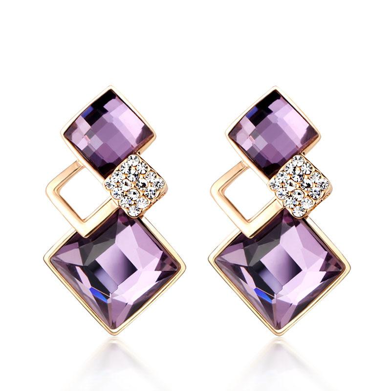 2015 Luxury Square Earrings Classic Gold Plated Zinc Alloy Rhinestone Blue Purple Crystal Stud Earrings For Women Jewelry<br><br>Aliexpress