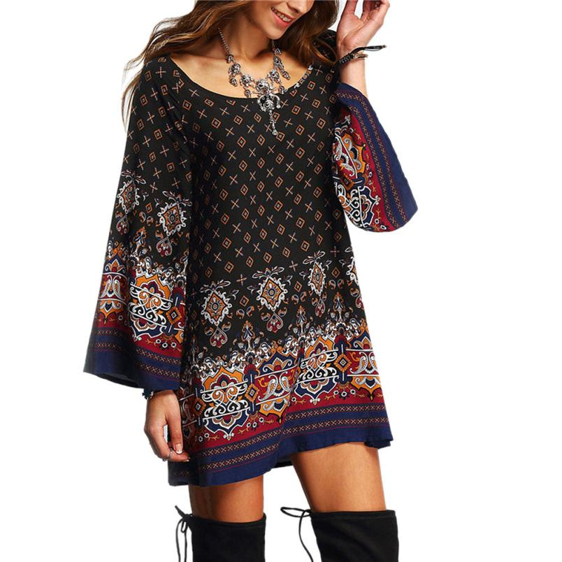 Newly Design Women's Casual Printed Long Sleeve Vintage Party Beach Dress 160426(China (Mainland))