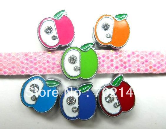 100pcs 8mm mixed colro Apple Slide Charms cell phone charms.(China (Mainland))