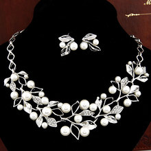 New Fashion Jewelry Set Necklace Statement and Earring imitation pearl Jewelry Set For Women Wedding Jewelry sets(China (Mainland))