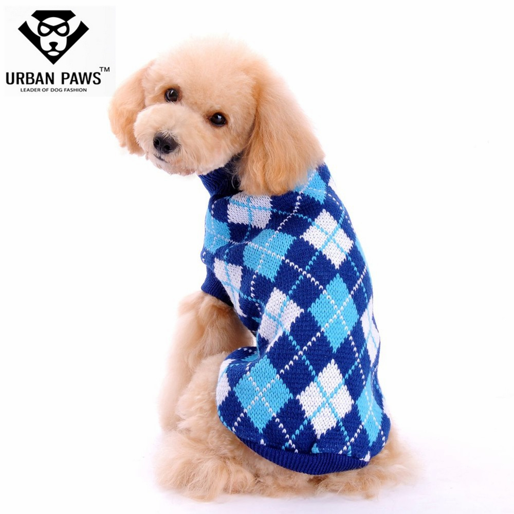Dog Sweater Fashion Dog Clothes Rhombus Type New 2015 Pet Clothes Lovely Pet Blue & White for Dogs URBAN PAWS Design(China (Mainland))