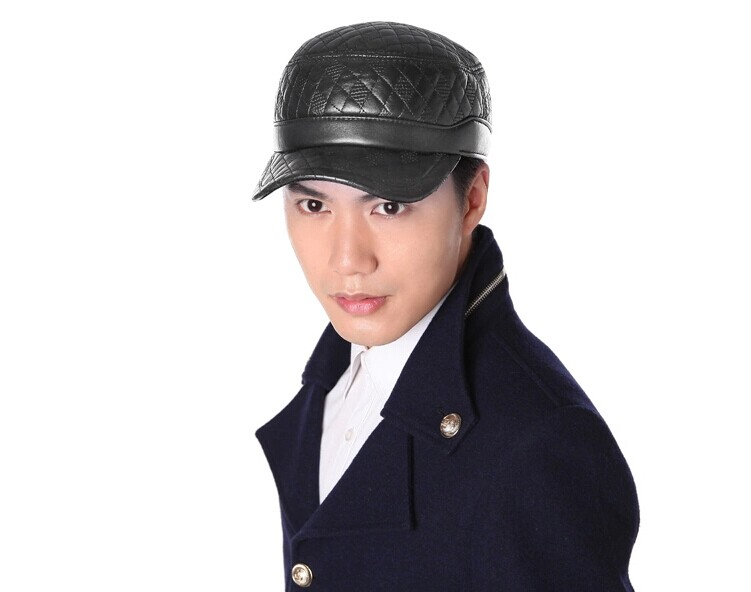 winter 2016 100% Top quality genuine leather hat winter sheepskin cadet military cap thermal plaid plus cotton hat for man/woman(China (Mainland))