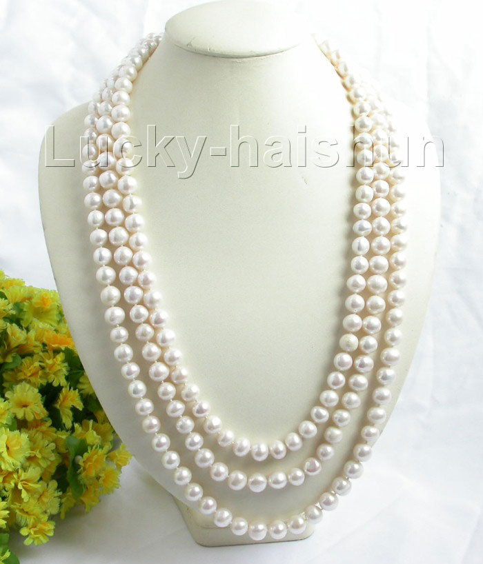 huij 001173 length 84 10-11mm white round freshwater pearls necklace<br><br>Aliexpress
