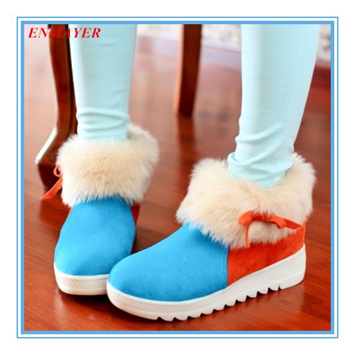 ENMAYER 3 colors plus size warm plush snow boots skidproof round toe bow ankle boots hidden heels patchwork women's boots