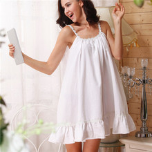 Buy 2017 Sleep Lounge Women Sleepwear Cotton Nightgowns Sexy Indoor Clothing Home Dress White Pink Chemise Nightdress #P2 for $16.58 in AliExpress store