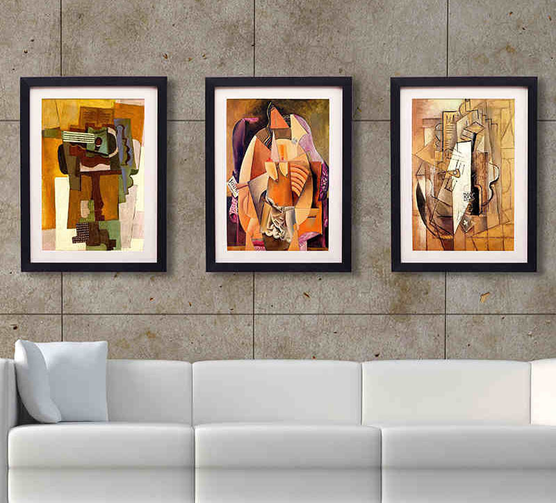 Framed wall art for living room vintage posters to for Wall of framed pictures